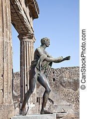 Pompeii Statue of Apollo - Remains enormous destroyed by a...