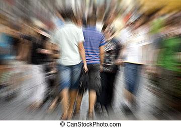 People in blur