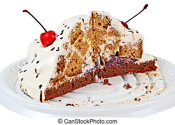 Half of cake - Bisected cake, it is isolated on a white...