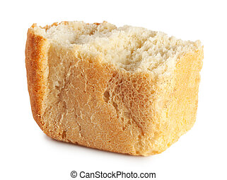 Break up a loaf of bread isolated on white background