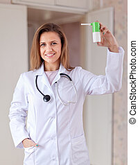 friendly doctor with spray