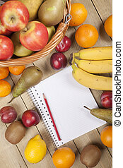 Fruits in basket with pencil and book