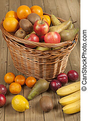 Fruits and basket on wooden surface