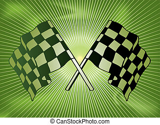 checkered past - Green checkered flag background with a star...
