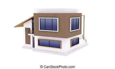 Exterior of modern house - Rotating modern house model