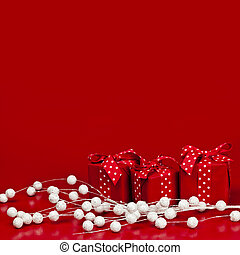 Red Christmas background with gift boxes - Red Christmas...