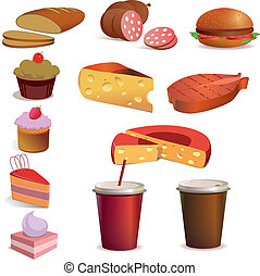 Food and drink, vector set - Food and drink vector set
