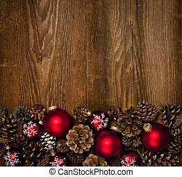 Wood background with Christmas ornaments - Rustic wood...