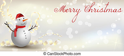Christmas banner with snowman
