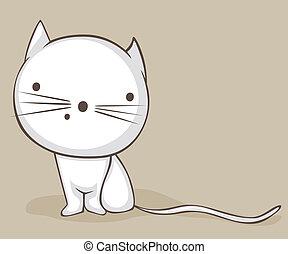 White cat - White cartoon cat