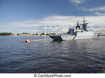 Battleship - Battle ship in St.Petersburg Neva river with...