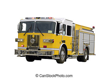 Firetruck Isolated - A close up on a firetruck isolated on a...