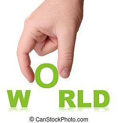 Hand and word World - business concept isolated on white...
