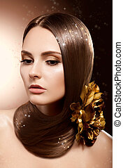 Woman with Beauty Long Brown Hair - Complexion and Coloring...