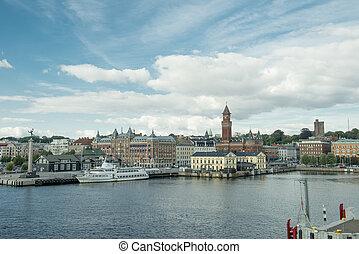 Helsingborg harbor - The view on Helsingborg harbor, Sweden....
