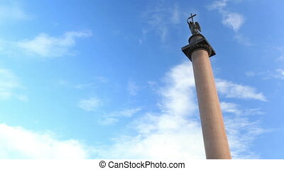 Timelapse. Alexander Column in St. Petersburg.