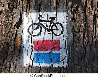 bicycle red and blue track,  sign on the tree