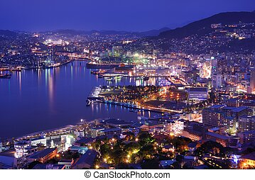 Nagasaki - Skyline of the bay of Nagasaki, Japan.