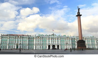Timelapse. Winter Palace and Alexander Column on Palace...