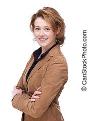 Smiling Business Woman with Folded Arms - Caucasian business...