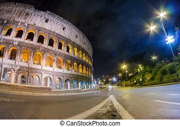 Coliseum night city traffic timelapse, 4K
