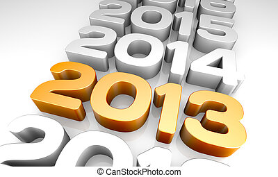 NEW YEAR 2013 and previous years concept.