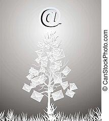 navidad, árbol, correos electrónicos