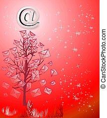 navidad, árbol, correos electrónicos, rojo