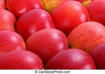 alimento, maçãs, vermelho, fundo