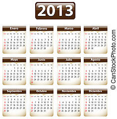 2013 Spanish calendar - Brown calendar for 2013 year in...
