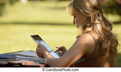 Young woman with digital tablet pc