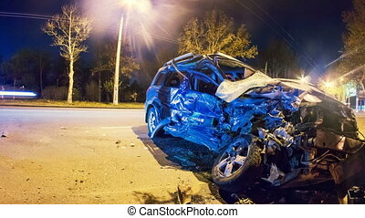 incidente, Automobile,  Timelapse,  zoom, scontrato, strada