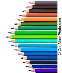 many colored pencils in row over white background