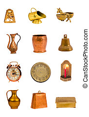 assorted  brass tools and objects group on white