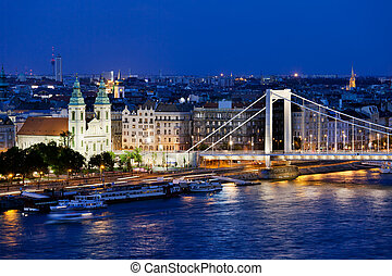 City of Budapest at Night - Cityscape of Budapest in Hungary...