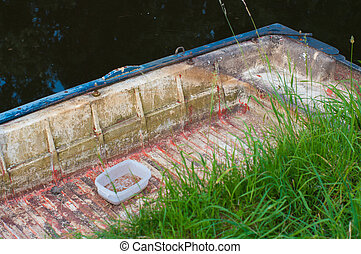 rowing boat - old rowing boat in a canal