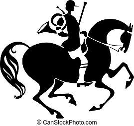 cavaleiro, caça, chifre