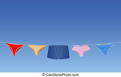 panties on the rope - vector conceptual illustration panties...