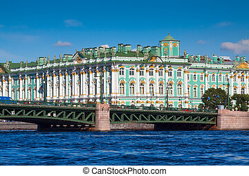 View of St Petersburg Winter Palace from Neva River in sunny...