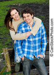 Smiling Happy Couple Outdoors