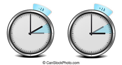 daylight saving time - illustration of a clock with daylight...