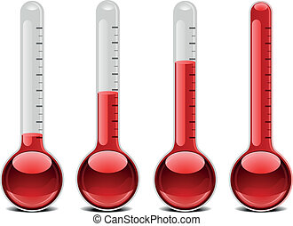 red thermometers - illustration of red thermometers with...