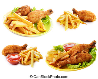 Fried drumsticks with french fries - Fried drumsticks with...