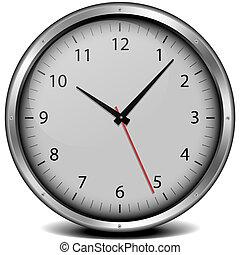 clock with metal frame - illustration of a metal framed...