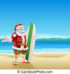 Surf Santa on the beach - Summer Santa in beach wear, long...