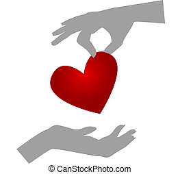 Organ donationSilhouettes of hands one giving heart, the...