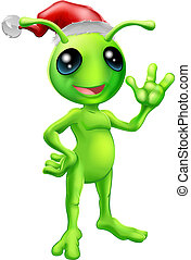Christmas alien - Illustration of a cute cartoon little...
