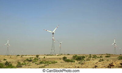 Windmills. - Windmills in the Thar desert, Rajasthan.