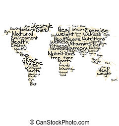 Typography with healthy life terms and world map