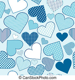 Background with blue stylized hearts, seamless pattern